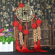 Cinco monedas de buena fortuna, adornos de feng shui, colgante budista de artes y artesanías, carillones chinos de viento, feng shui, moneda de la suerte