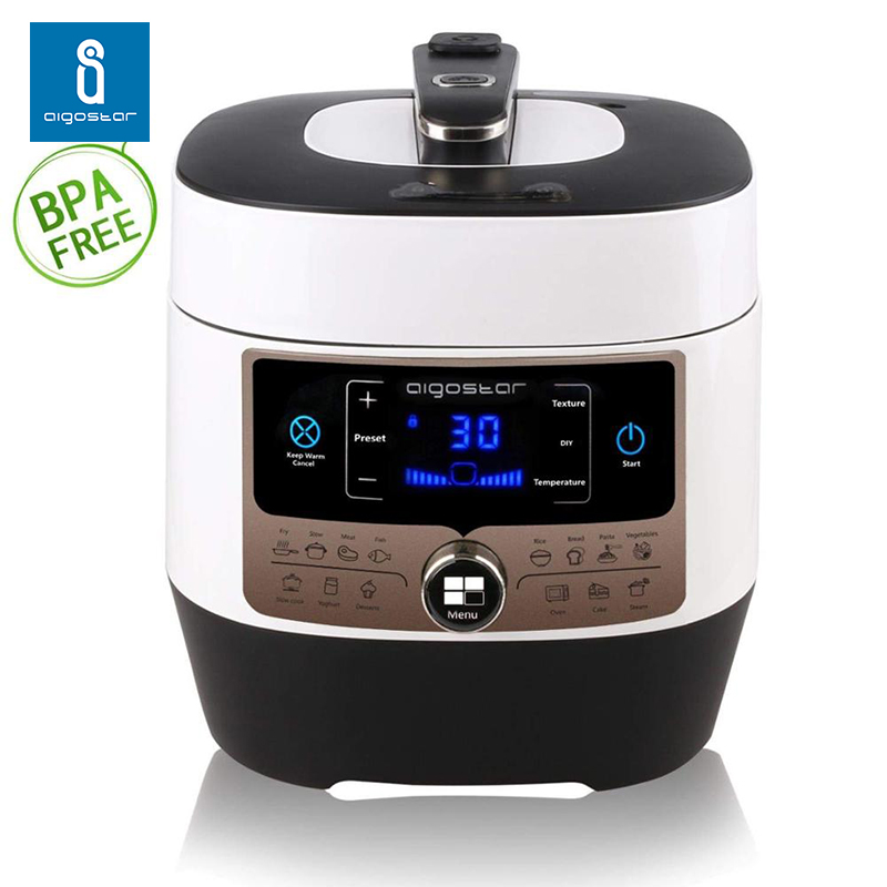 Aigostar Panda 30 Hgz-electric Pressure Cooker 1000Watt, Multifunction With 14 Functions. Pot Stainless Steel 6L.