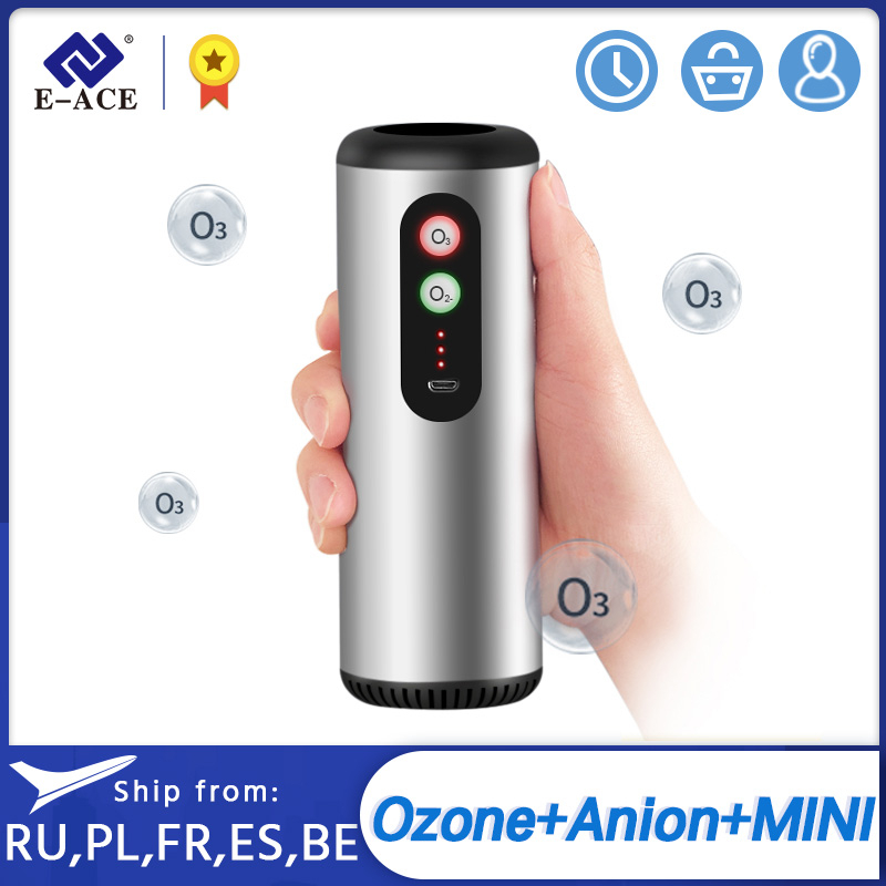 E-ACE M03 Car Air Purifier Air Anion Ozone Generator with HEPA Filter Fresh Air Cleaner for Car Home Office Sterilize