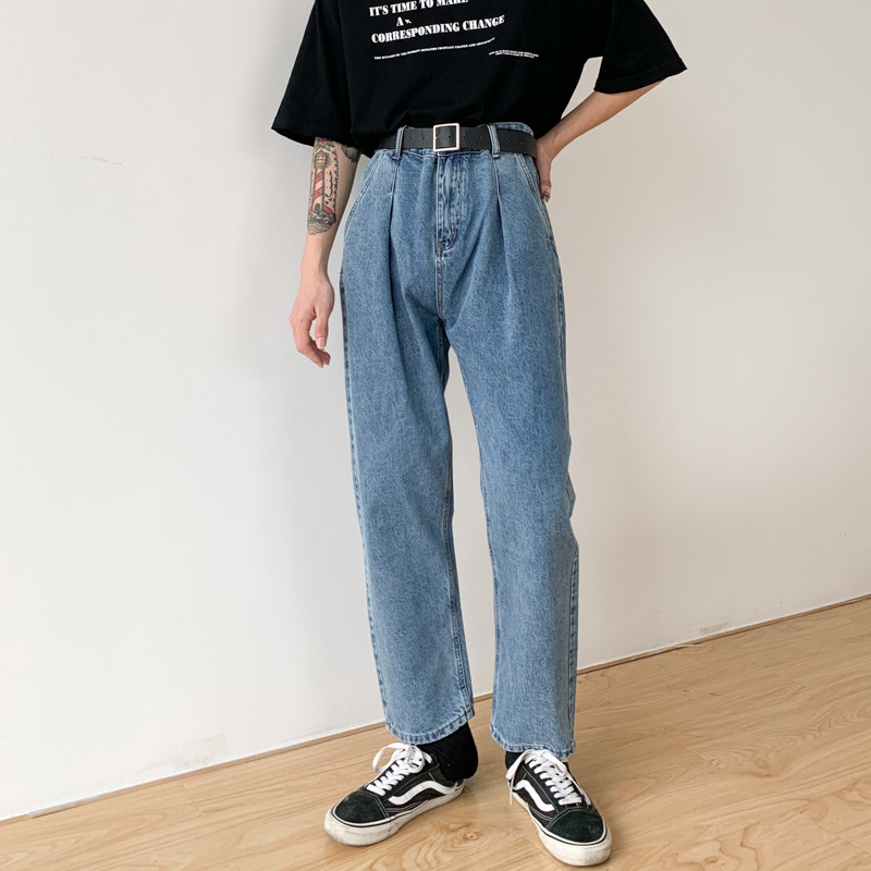 Men Vintage Fashion Casual Loose Washed Harem Jeans Male Hip Hop Streetwear Japan Korea Style Straight Denim Ankle Length Pants