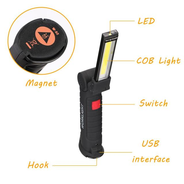 COB LED Tactical Flashlight USB Rechargeable Torch Waterproof Work Light Magnetic Lanterna Hanging Lamp For Night Lighting 3