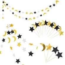 Eid Mubarak Cupcake Topper String Glitter Silver GOLD Black Moon Star Garland Bunting Ramadan อิสลามมุสลิมงานปาร์ตี้ซัพพลาย