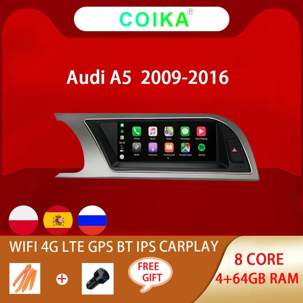 8 Core Android 10 Системы автомобиля GPS Navi приемник для Audi A5 2009-2016 WI-FI 4G Carplay 4 + 64 Гб Google BT IPS сенсорный экран мультимедиа