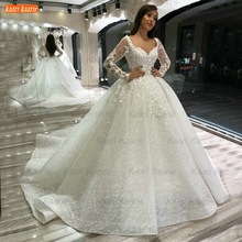 Robe-De-Mariage Ball-Gown Bridal-Dresses Arabian Beaded-Appliqued Lace Long-Sleeves Luxury