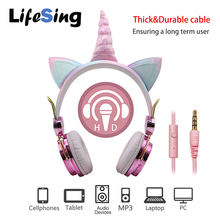 Cute Unicorn Headsets With Microphone Earphone for boys Kids daughter Headphones For Laptop Cellphones PC MP3 Tablet Headsets