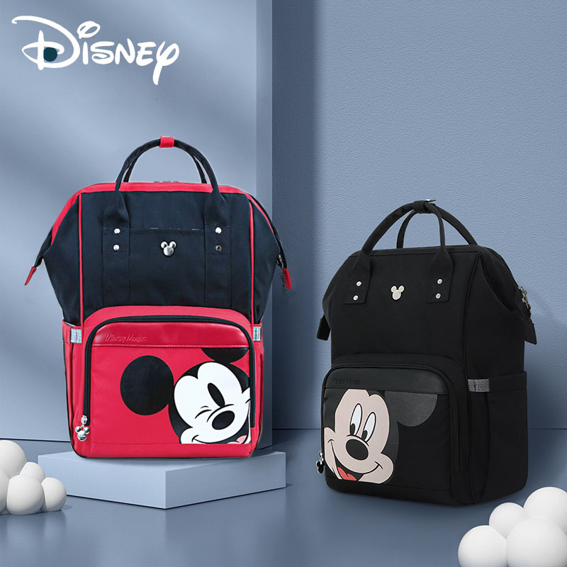 Disney Classic Black Mickey Minnie Baby Diaper Bag Backpack Nursing Bag For Baby Care Organizer Bag For Baby Stroller Waterproof