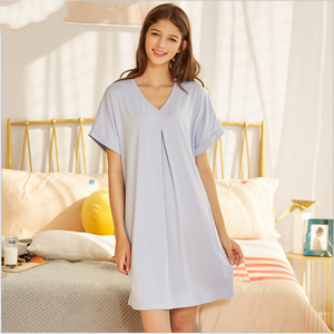 Image 3 - 2020 ฤดูร้อนหญิง Sweety Lace Sleepwear LADIES ชุดนอนผ้าฝ้ายผู้หญิงสั้นแขนยาวคอชุดนอน PLUS ขนาด XXL