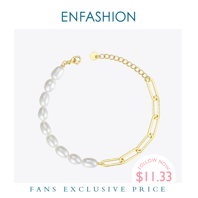 ENFASHION Natural Pearl Link Chain Bracelet Female Gold Color Stainless Steel Femme Bracelets For Women Fashion Jewelry B192069