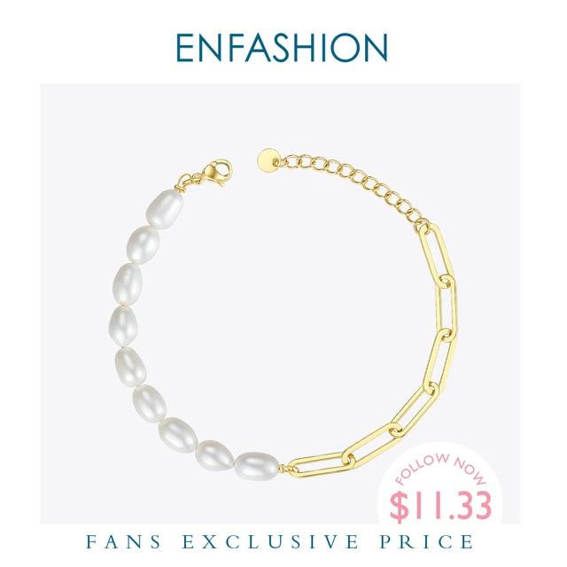 ENFASHION اللؤلؤ الطبيعي ربط سلسلة سوار الإناث الذهب اللون الفولاذ المقاوم للصدأ فام أساور للنساء مجوهرات الأزياء B192069