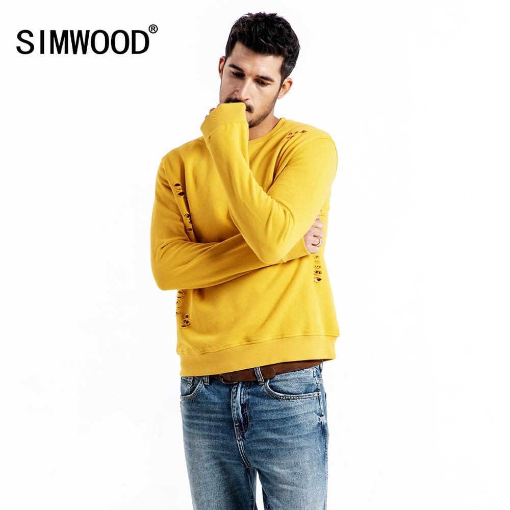 SIMWOOD 2020 Spring New Hoodies Men Fashion Ripped Hip Hop Sweatshirts Streetwear Embroidery  Letter Hole Hoodie 190044