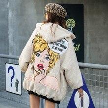Hiver nouvelle laine épaississement à capuche coton costume version coréenne de la double face en vrac portant dessin animé beauté modèle épais manteau