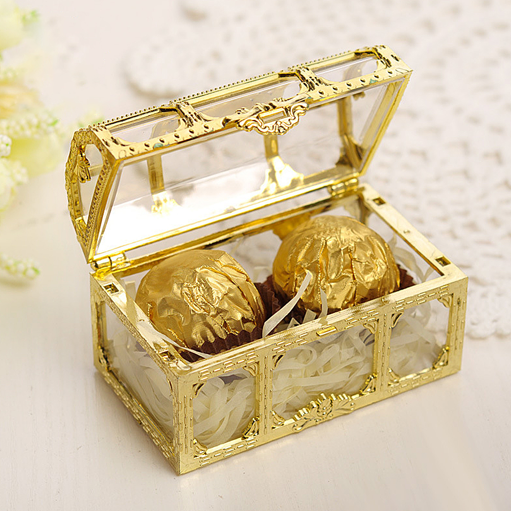 European  Clear Plastic Jewelry Storage Boxes Pirate Style Chest Box Treasure Storage Box Crystal Gem Jewelry Collectibles Box