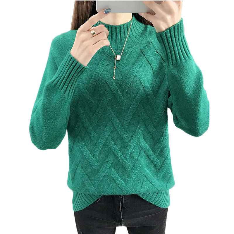 Autumn Winter Women Sweater Pullover New Solid Half Turtleneck Long-sleeved Knit Sweater Bottoming Shirt Casual Female Tops 1016
