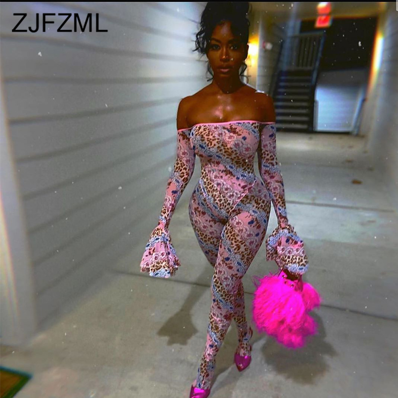 Sexy Club Leopard Penelled Bodycon Jumpsuit Women Off Shoulder Backless Bandage Romper Flare Sleeve One Piece Party Bodysuits
