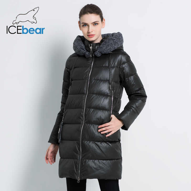 ICEbear 2019 새로운 여성 겨울 자 켓 코트 슬림 겨울 누비 이불 코트 긴 스타일 후드 슬림 Parkas Thicken Outerwear GWD19600I