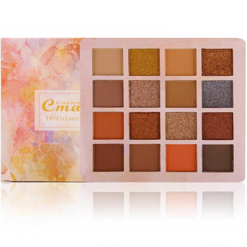 16 kolorów z matowymi i błyszczącymi pigmentami cień do powiek w proszku brokatowy cień do powiek paleta cieni do powiek