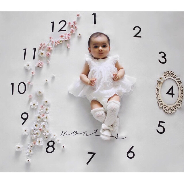 New 100 * 100CM Cotton Baby Posing Props Shooting Props Blanket Time Blanket Alphabet Flowers Blanket Baby Baptism