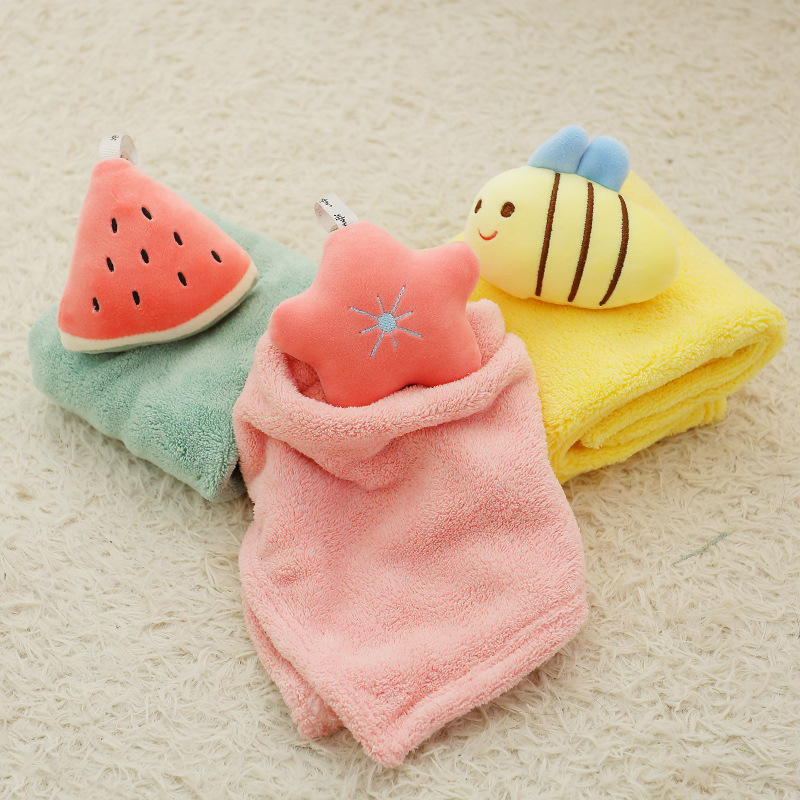 Handkerchief Children Towel Hanging Towels Thickened Shou Bu Toilet Cartoon Cute Towel Wholesale Virus Wash Your Hands