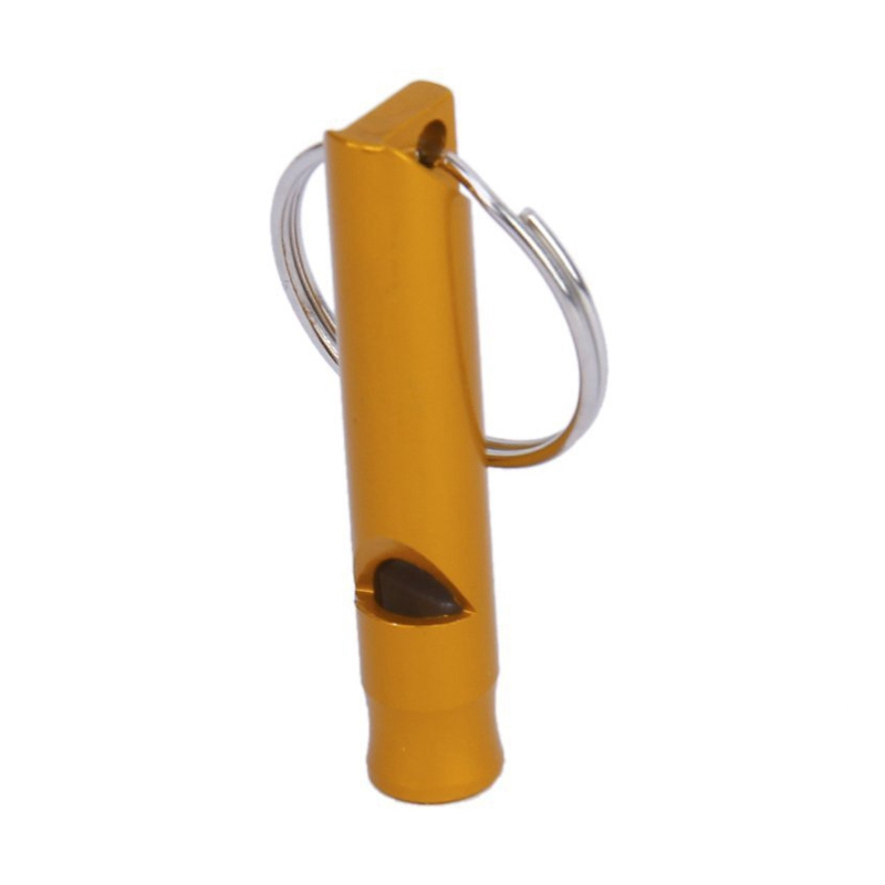 Survival Whistle gold Emergency whistle with keychain.