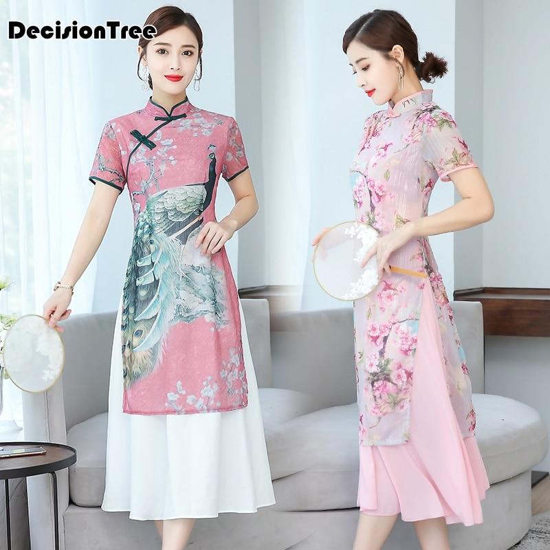 2019 Improved Cheongsam Dress Ao Dai Dress Floral Print Qipao Vestidos Party Dress Ao Dai Vietnam Vietnamese Vietnam Clothing