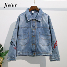 Jielur Jacket Women Embroidery Hipster Pockets Denim Coat Solid Color Slim Coats Jeans Button Autumn S-XXXL