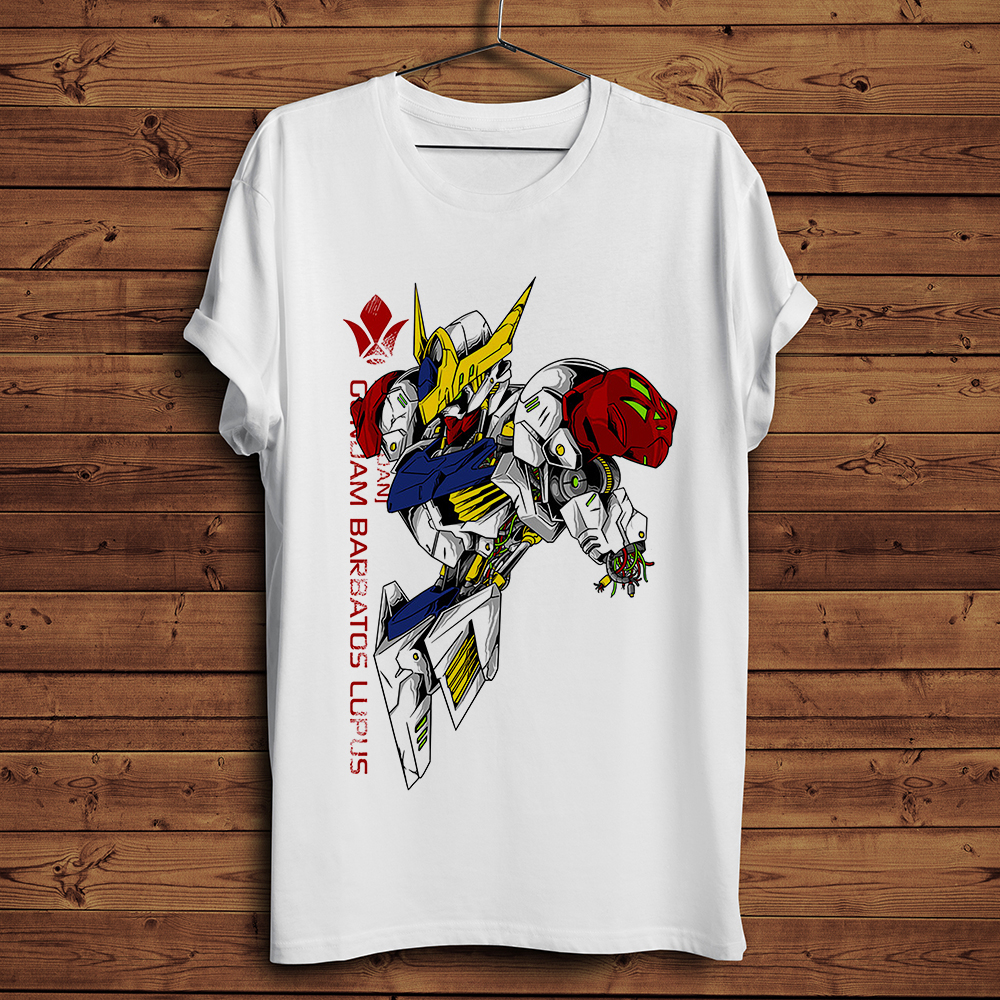 Barbatos Gundam After Final Battle Anime T Shirt Men Summer New White Casual Homme Cool Japan Manga Tshirt