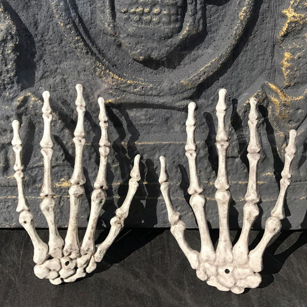 2Pcs Halloween Skeleton Human Hand Bone Party Haunted House Decoration Props hot in Party DIY Decorations from Home Garden
