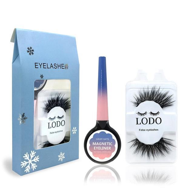 2pcs Eye Makeup Set Long Fake Eyelashes Waterproof Magnetic Liquid Eyeliner Set Women Eye Cosmetic Tool
