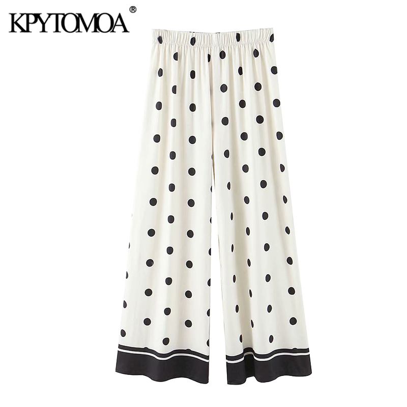 KPYTOMOA Women 2020 Chic Fashion Polka Dot Straight Pants Vintage High Elastic Waist  Female Ankle Trousers Pantalones Mujer