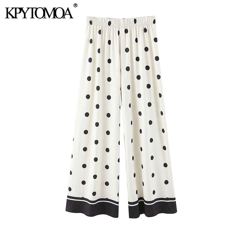 KPYTOMOA Women 2020 Chic Fashion Polka Dot Straight Pants Vintage High Elastic Waist  Female Ankle Trousers Pantalones Mujer