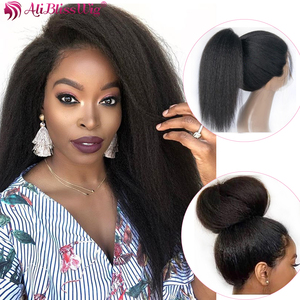 Image 2 - Italian Yaki Full Lace Human Hair Wigs For Black Women Kinky Straight Lace Front Human Hair Wigs Remy Brazilian Pre Plucked