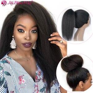 Image 2 - Italienische Yaki Volle Spitze Menschliches Haar Perücken Für Schwarze Frauen Verworrene Gerade Perücken Volle Spitze Perücke 130% Remy Vor gezupft gebleichte Knoten