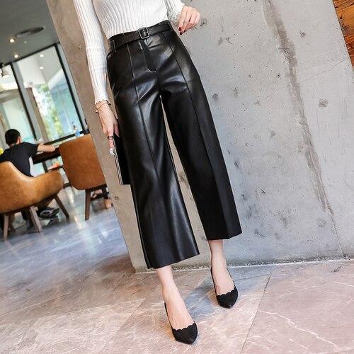 Осенние брендовые новые женские брюки из искусственной кожи с поясом и высокой талией, женские брюки из искусственной кожи, зимние штаны, широкие брюки - Цвет: Черный