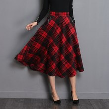 Elegant Skirt England Style Red Plaid High Waist Midi Skirts Woolen Plus Size Pleated 2019 Winter Women Tartan For
