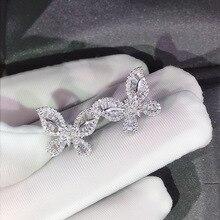 Cute Silver Butterfly Stud Earrings 925 Silver Filled with Bling Zircon Stone for Women Fashion Jewelry Korean Earrings