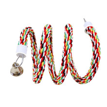 160cm Bird Perch Toy Spiral Cotton Rope Chewing Bar Parrot Swing Climbing Standing Toys with Bell Bird Supplies-ABUX(China)