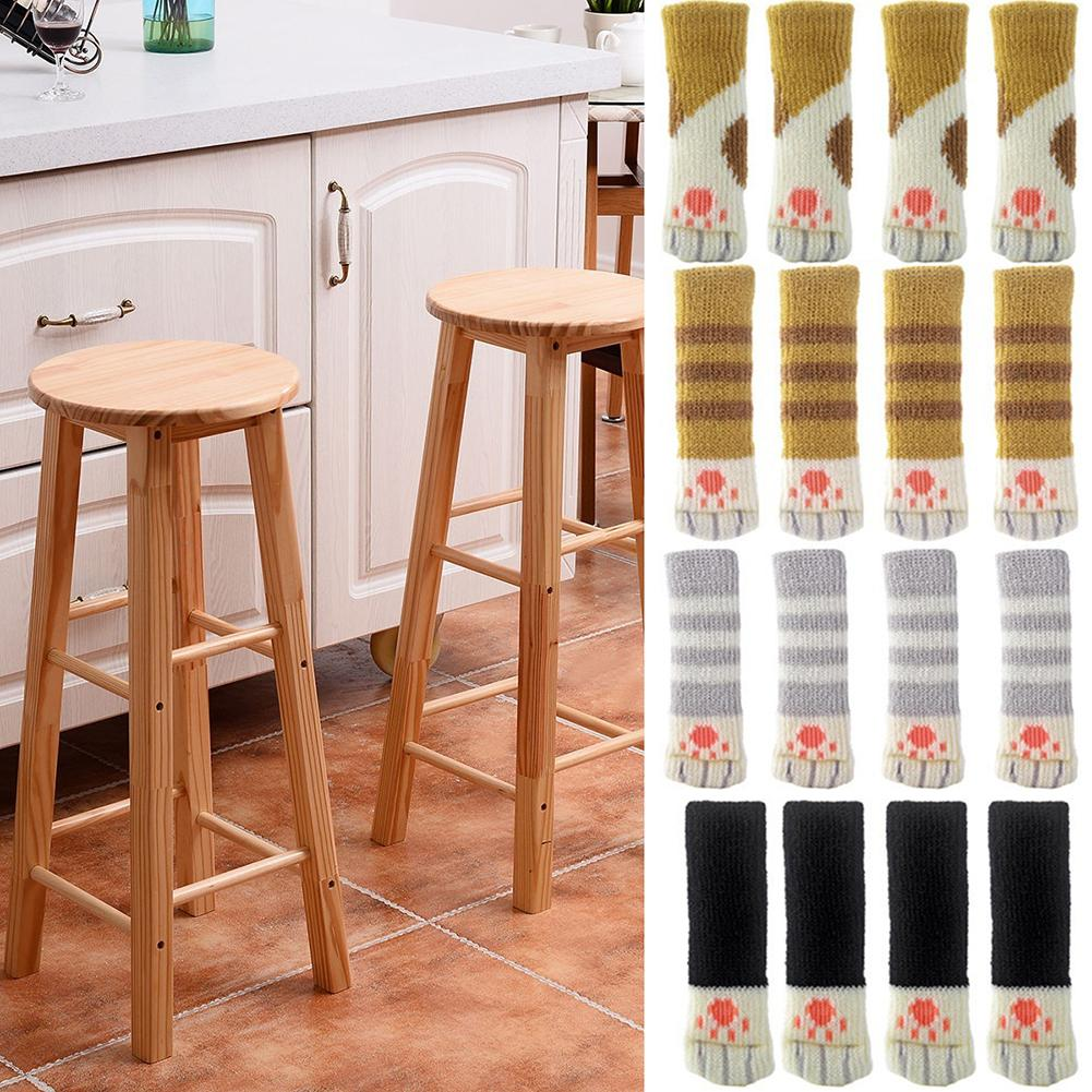 4Pcs Bar Dining Kitchen Pub Chair Furniture Leg Table Foot Mat Pad Cover Sleeves Home Decor Table Foot Cover