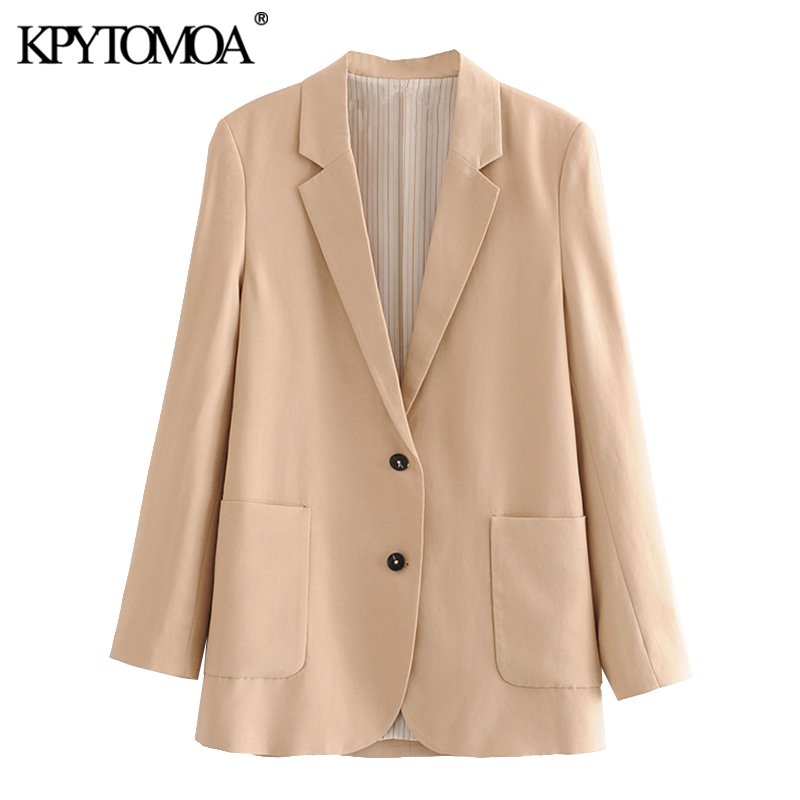 KPYTOMOA Women 2020 Fashion Office Wear Single Breasted Blazer Coat Vintage Long Sleeve Pockets Female Outerwear Chic Tops