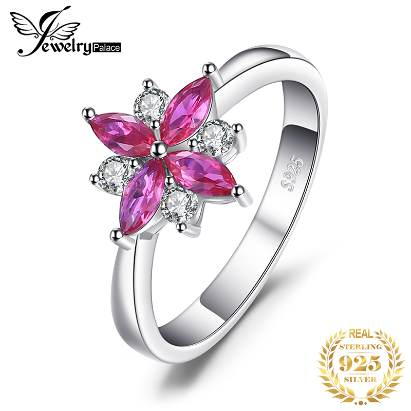 JewelryPalace Flower Created Ruby Ring 925 Sterling Silver Rings For Women Cocktail Ring Silver 925 Jewelry Gemstones Jewelry