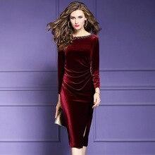 2020 Retroกำมะหยี่เซ็กซี่ชุดใหม่หรูหราฤดูใบไม้ผลิฤดูใบไม้ร่วงVintageลูกปัดเล็บParty Dress Plusขนาดเสื้อผ้าผู้หญิงฤดูหนาวSlimชุด