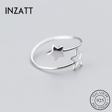 INZATT Real 925 Sterling Silver Star Adjustable Ring For Fashion Women Party Minimalist Fine Jewelry 2020 Cute Accessories Gift