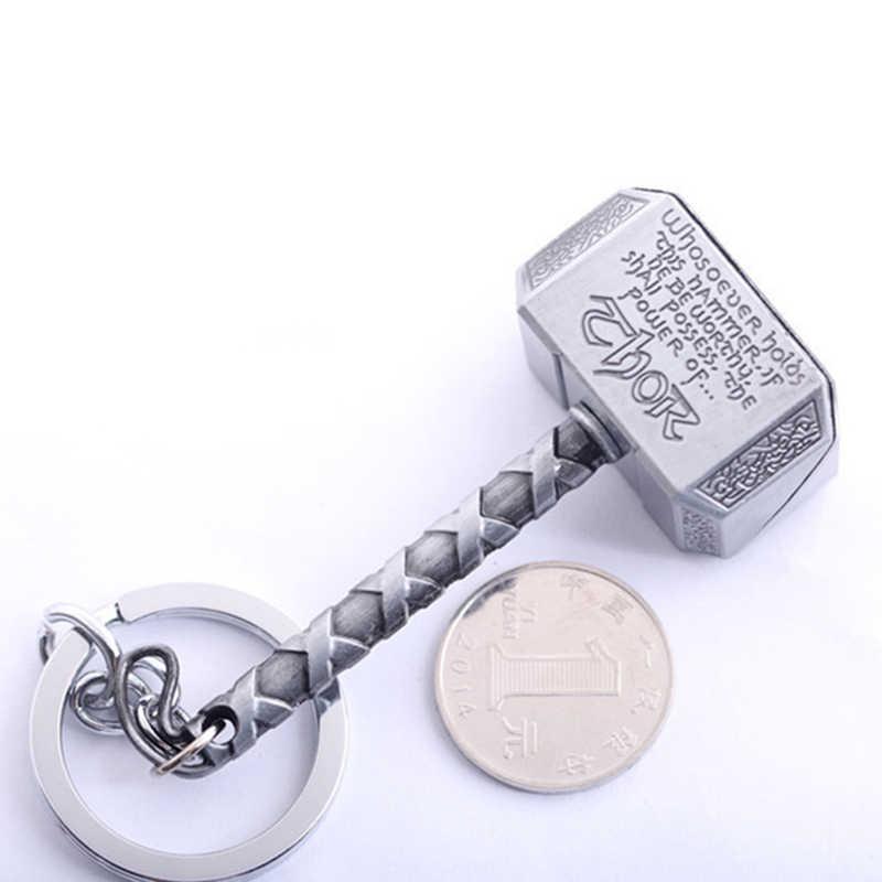 1 لعبة ثور سلسلة المفاتيح الجديدة بيوتر كيرينغ حلقة رئيسية المشجعين الرجال المجوهرات التبعي الأعجوبة المنتقمون ثور المطرقة mjolnir المفاتيح