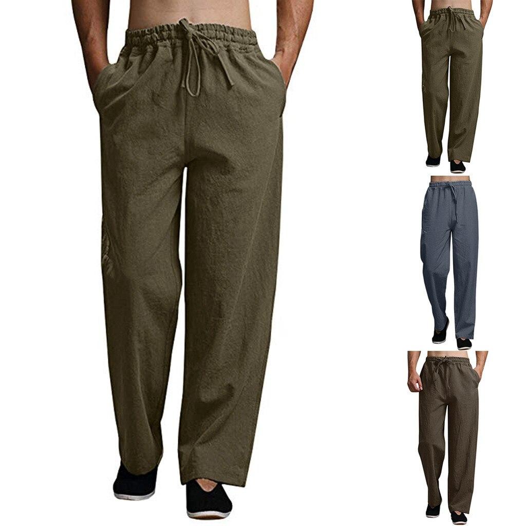 Men Summer Fashion Casual Cotton Long Pants Solid Color Casual Pants Beach L-4XL