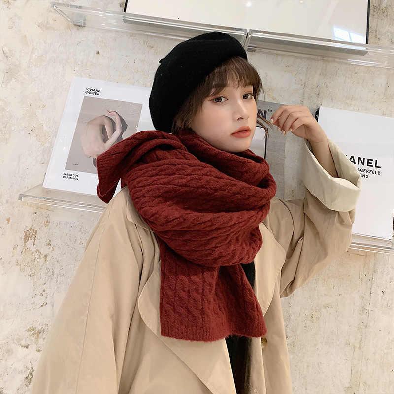 Di alta Qualità di Inverno di Spessore Morbida Maglia Caldo Dello Scialle Della Sciarpa Solido Rosso Verde Grande Delle Ragazze Delle Signore Dello Scialle Pashmina Bandana Sciarpe hijab