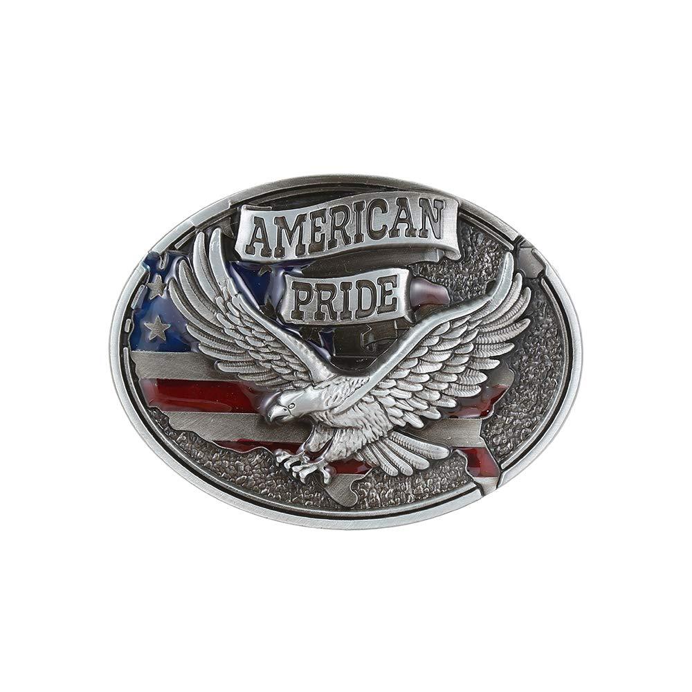 American Pride Silver Belt  Buckle For Man Western Cowboy Buckle Without Belt Custom Alloy Width 4cm