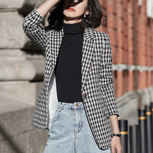Tweed Jackets Women Korean OL Fashion Office Ladies Work Wear Houndstooth Coats