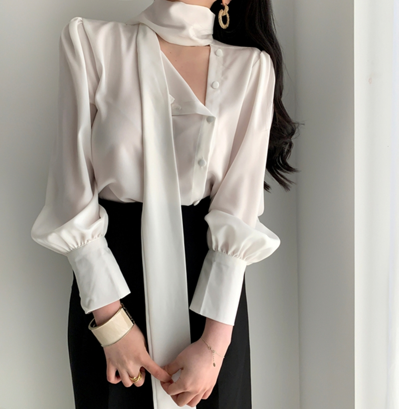 New Spring Summer Fashion Tunic Women Blouse Shirts Long Sleeve Tie Bow Chiffon  Formal Women White Shirts