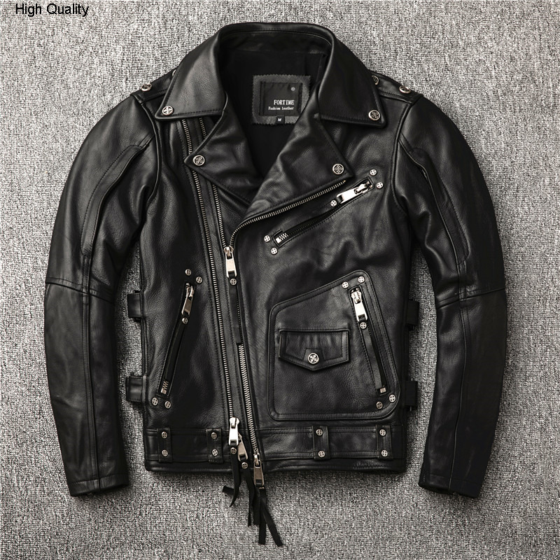 2020 Men's Punk Rivet Motorcycle Diagonal Zipper Moto Biker Cow Leather Coat Men Slim Fit Rider Jacket Male