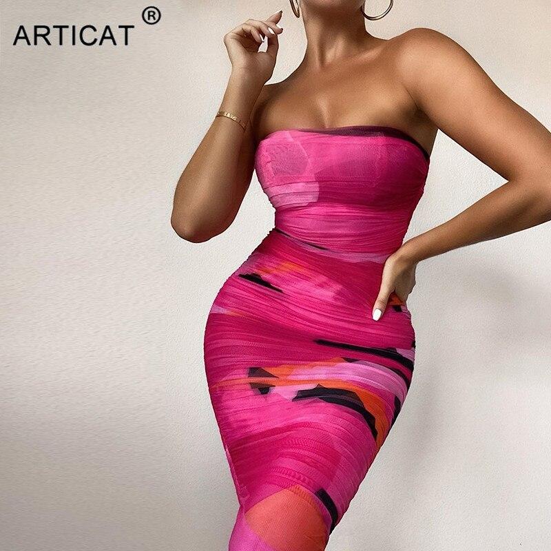 Articat di Stampa Senza Spalline Increspato il Vestito Per Le Donne Senza Maniche Sexy Mini Vestiti Delle Signore Streetwear Backless Elasitc Maglia Abiti