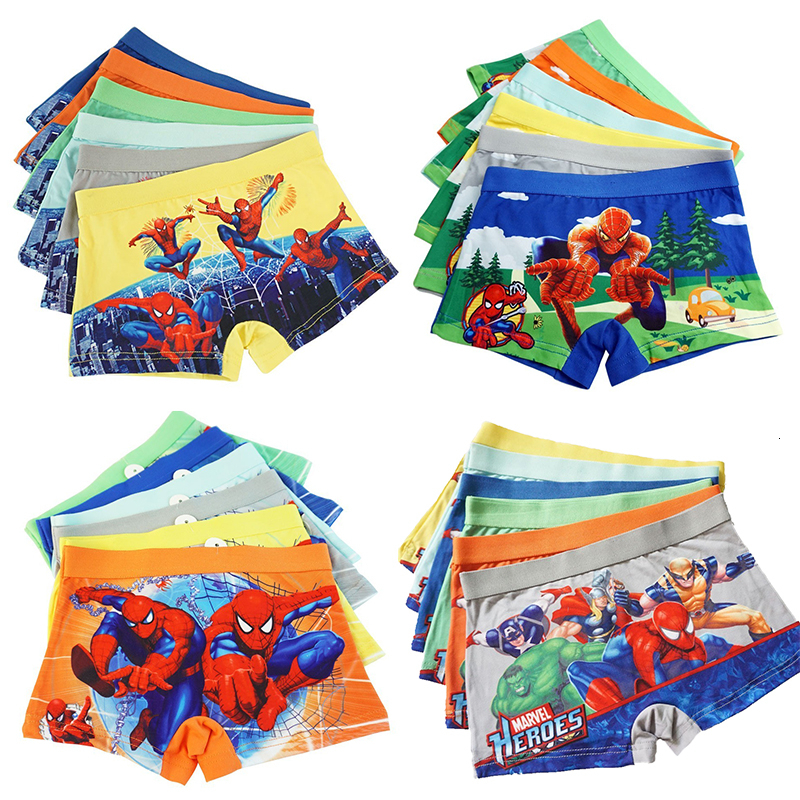 4pcs/lot Childrens Underwear Boxer Briefs Boy Underwear Kids Cartoon Underpants Spiderman Kids Panties Underwear 2-8Y Panty